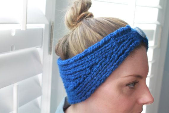 Comfy royal blue knit headband with button by BecomingButtons, $20.00