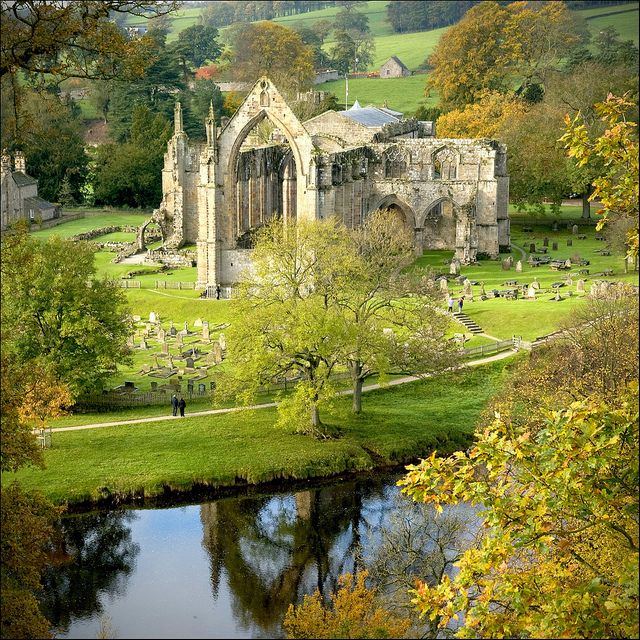 "Abbey of Solitude - Leeds.    Bolton Abbey: ""Location, location, location – that must have been the watchword for 12th-century monks. This riverside site ranks with Rievaulx and Fountains as one of the most awe-inspiring positions for an abbey anywhere."" Slow Travel Yorkshire Dales"