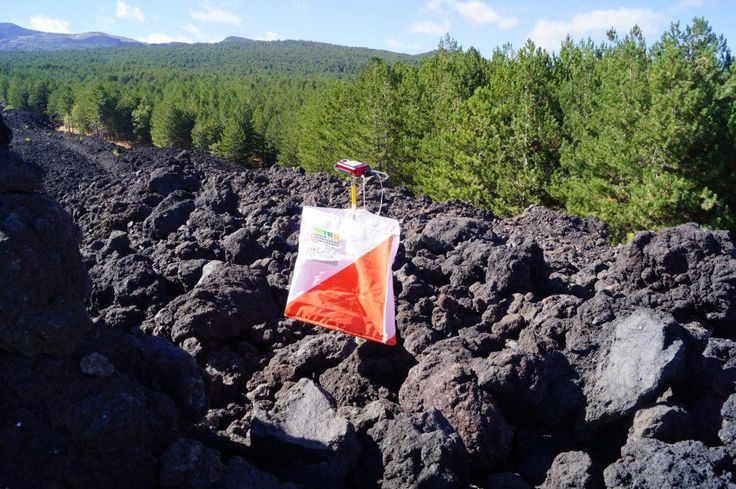 Orienteering on lava, Mount Etna, Sicily, Italy. Picture and map.