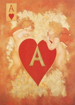 Cupids Plan Their Ace - Limited Edition Hand Embellished Giclee on Canvas by Arbe (Ara) Berberyan
