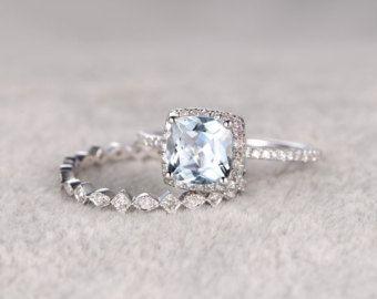 2pcs Cushion Cut Blue Aquamarine Wedding ring by popRing on Etsy