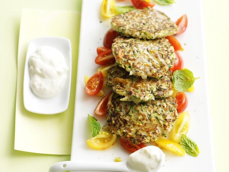These tasty, healthy zucchini fritters are fabulous with preserved lemon yoghurt on the side. Use only the rind from the preserved lemon; rinse rind well under cold water then drain, dry and chop finely.