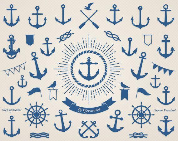 Ancre de bateau Clip Art: Ancre marine clipart par DigiWorkshop