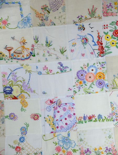 Sweet quilt made up of vintage embroidery