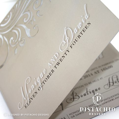 Square champagne wedding invitation with twirl laser cut made by www.pistachiodesigns.co.za