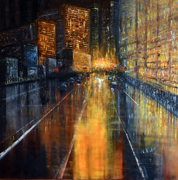 """Contemporary cityscape painting-New York """"New York"""" is a contemporary abstractcityscape painting.   """"New York"""" is an abstract oil painting. Is a powerful artwork made with palette knife. It's vivid colors overwhelm the viewer.  The size of artwork is: 100 X 100 X 3 cm 