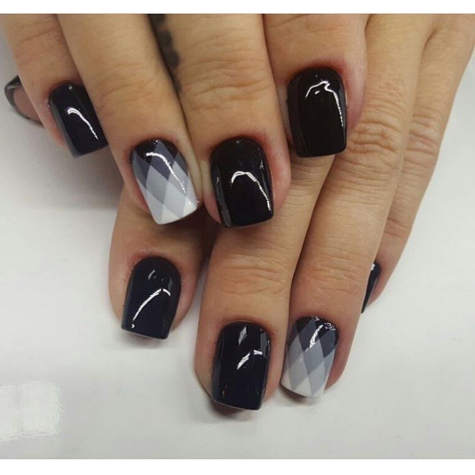 Autumn nails, Black nails ideas, Evening nails, Evening short nails, Glossy nails, Manicure for young girls, Nails ideas 2017, Party nails