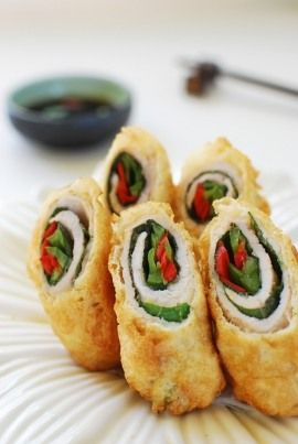 Deep-fried pork rolls (dwaeji gogi mari twiguim)