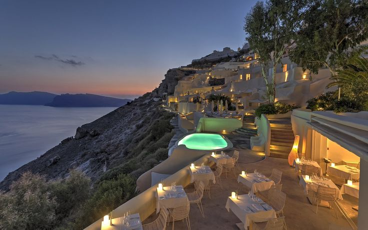 Stylish property consisting of 38 suites and villas built exactly on Oia's most famous cliffs.
