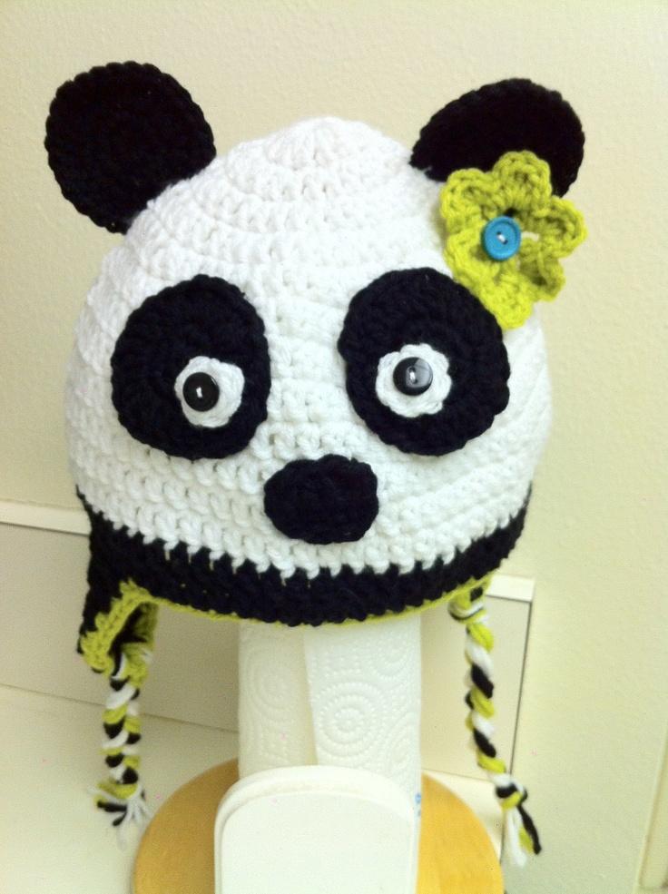 Panda Bear Earflap Hat Crochet Pattern : 20 best images about Panda hat on Pinterest