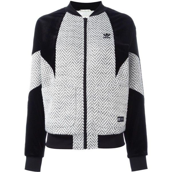 Adidas velvet panel track jacket ($240) ❤ liked on Polyvore featuring activewear, activewear jackets, black, track top, adidas sportswear, tracksuit jacket, adidas activewear and warm up jackets