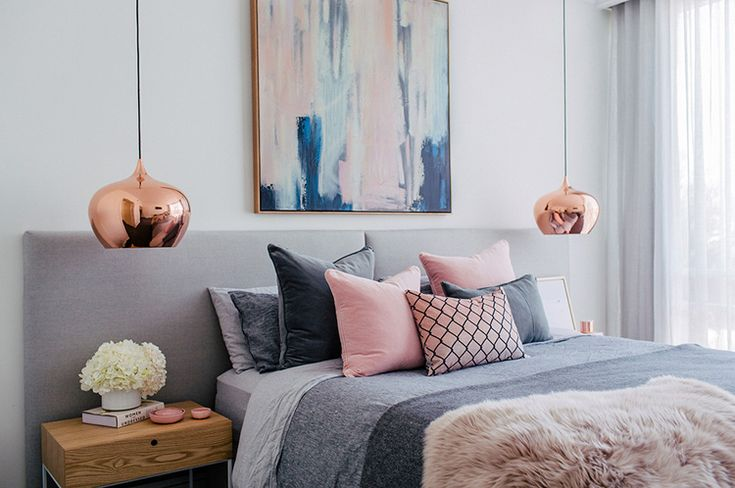 Slaapkamer pasteltinten en verschillende materialen