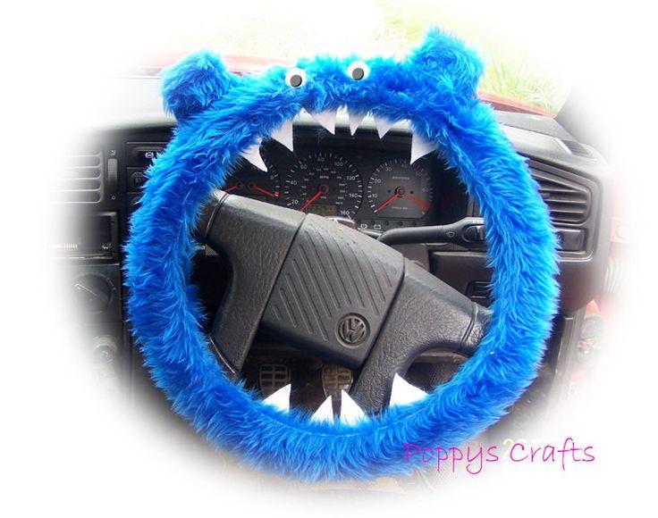 Fuzzy Monster Roar Royal Blue steering wheel cover faux fur fluffy furry car truck van jeep cute googly eyes teeth dragon truck suv fun van