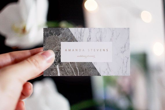 Rose Gold Card Marble Business Card Business Card di AYAKAstudio