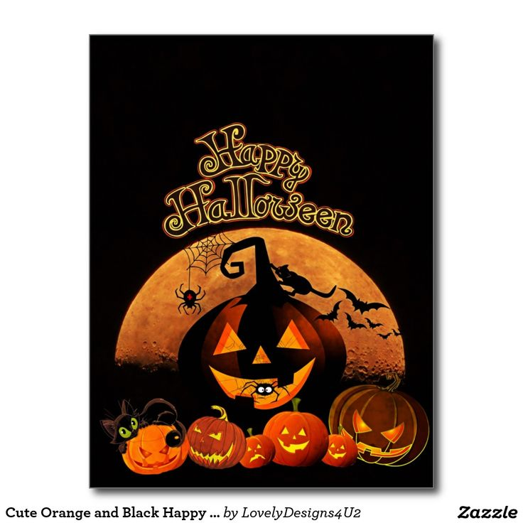 Cute Orange and Black Happy Halloween Postcard