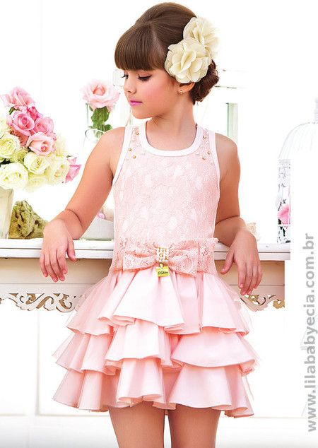Vestido Salmão Infantil Pakita Moda Infantil 231477