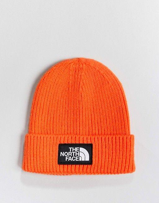 The North Face Logo Box Cuffed Beanie Hat in Orange  e9b79d6099a