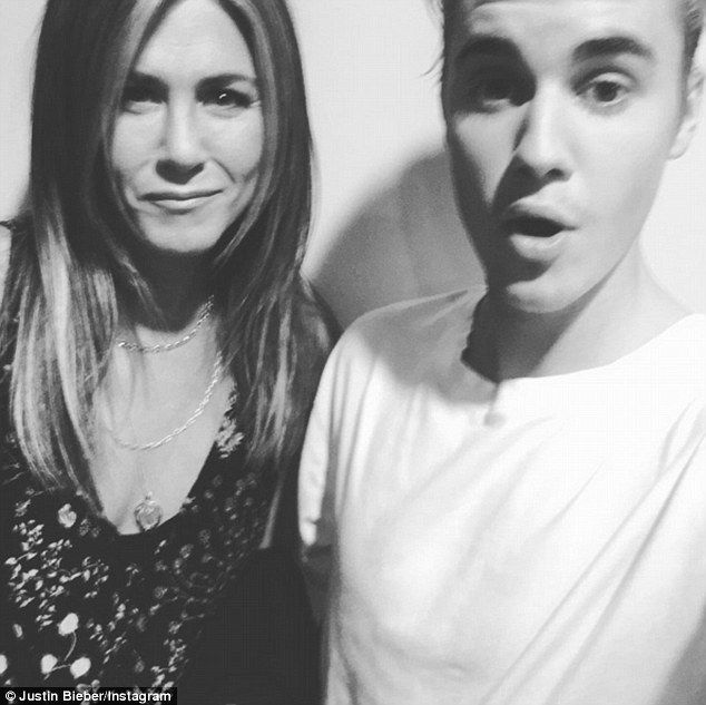 Who knew they were friends? Justin Bieber shared a black and white selfie of him with Jennifer Aniston on his Instagram Wednesday
