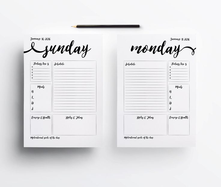 Printable 2016 Planner pages, A5 Planner, Minimal planner pages, Instant download, Black and white planner, Day per page, DIY planner by aTypeOfInspiration on Etsy https://www.etsy.com/listing/261109861/printable-2016-planner-pages-a5-planner