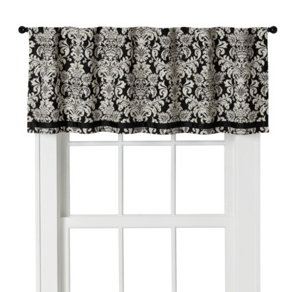 target home woven damask valance black white in a new window