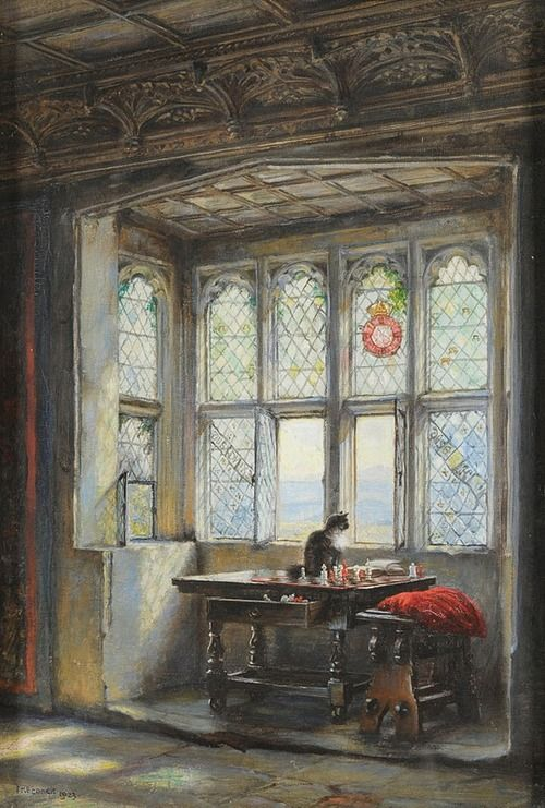 Frank Moss Bennett (1874-1952) - 17th century Interior Scene with a Cat seated beside a Window (1923) - Oil on canvas