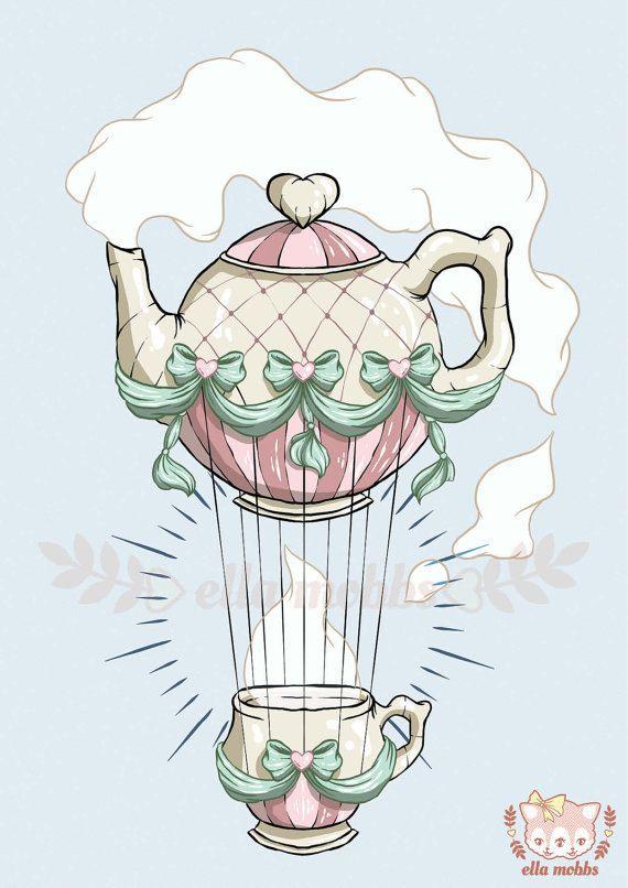 Teapot Hot Air Balloon Illustration by ellamobbs