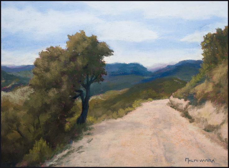 Hiking Route in Provence by Olli Malmivaara Soft pastel painting on sanded paper 23 x 30 cm
