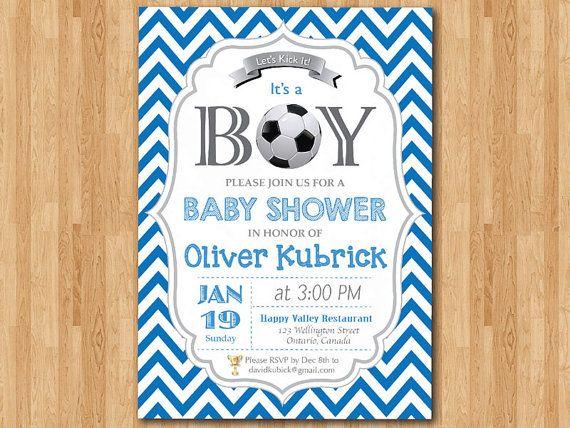 Soccer Baby Shower Invitation. Baby boy chevron by arthomer