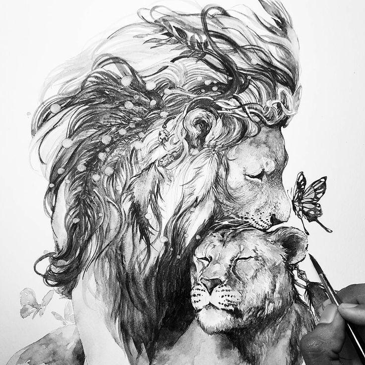 Лев и львица рисунки даже идеальные