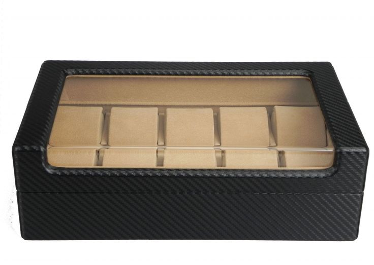 Luxury black carbon fiber wooden watch case display Watch Box organiser for 10 watches  $109.95  Size: 30x18x9cm Stunning design with cabon firbe Finished Made of  timber and wrapped by stylish carbon fiber leather Store up to 10 watches Crystal Clear acrylic top high quality Soft coffee velvet