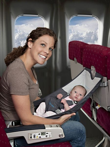 FlyeBaby - FlyeBaby is a hammock-  type seat that can be used  on an airplane during the cruise  portion of the flight as a comfortable  and convenient place to put your baby.  It can also attach to most dining room chairs to serve as a portable high chair. #pregnancyandflying,