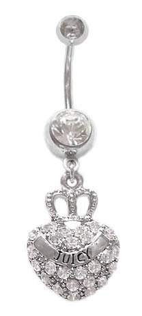 """Crystal clear Cz Paved Crown on Heart says """"juicy"""" Dangle Belly button Navel body jewelry piercing bar Ring 14 gauge $10.00: Belly Rings, Piercing Bar, Belly Button, Body Jewelry Piercing, Button Navel"""