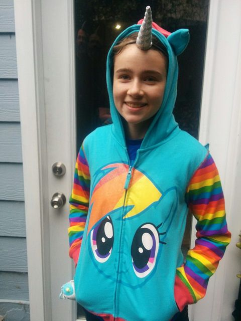 Rainbow Dash My Little Pony MLP hoodie costume top and unicorn horn headband good for Halloween and dressing up kids parties girls costumes