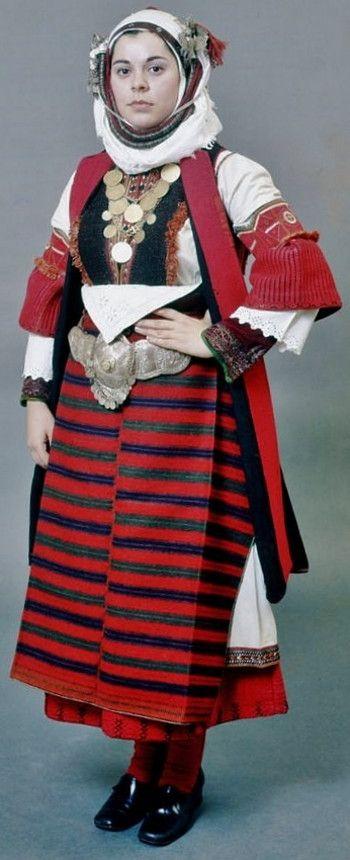 "Festive costume known as ""Paesana"" from Asvestochori, Thessaloníki, northern…"