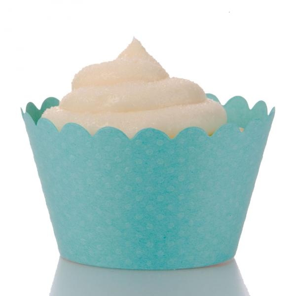 These popular aqua blue cupcake liners feature tiny raised polka dots on a high quality blue wrapper.