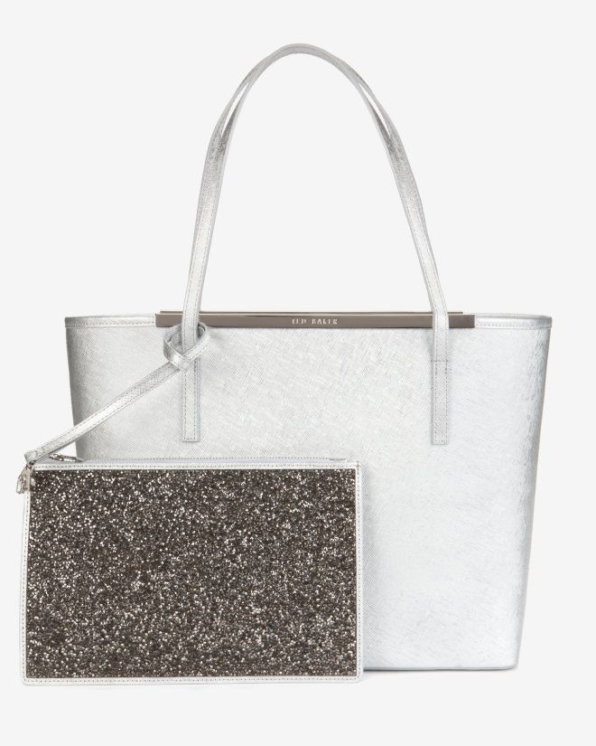 Large metallic leather shopper bag - Silver Color | Bags | Ted Baker