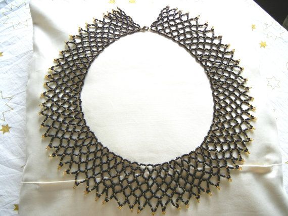 Black statement necklace black beaded necklace gothic door EraOfCrea