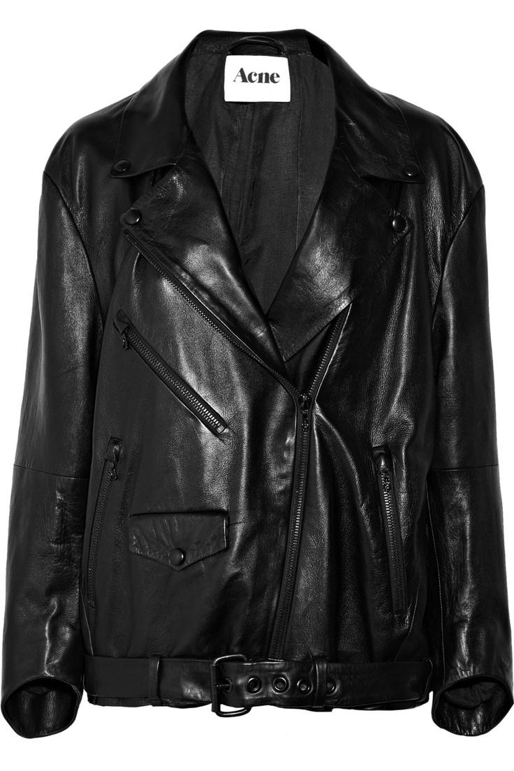 Black Metal oversized leather biker jacket Acne Studios
