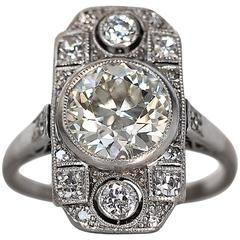 1920s Art Deco GIA Cert 1.95 Carat Old European Diamond Platinum Engagement Ring