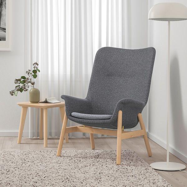 Vedbo Gunnared Dark Grey High Back Armchair Ikea Schienali Ikea Poltrone