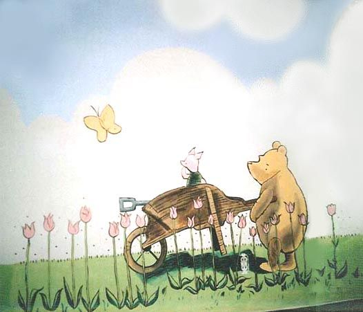 104 best hundred acre wood images on pinterest for Classic pooh mural