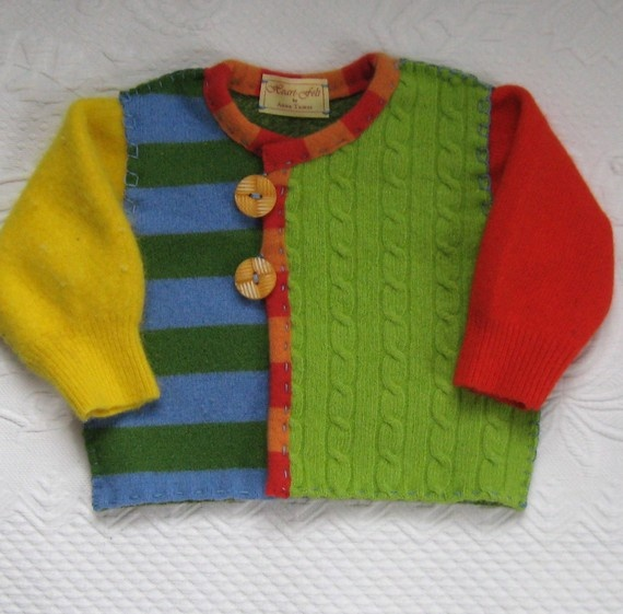 RECYCLED SWEATER CARDIGAN Desmond 383 felted Baby by heartfeltbaby, $70.00