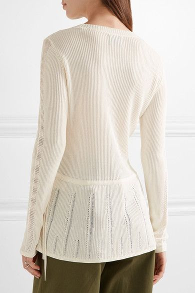 Maiyet - Pointelle-trimmed Ribbed Stretch-knit Peplum Sweater - Off-white -