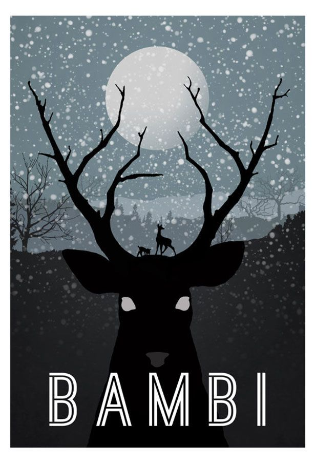 Minimalist version of Bambi poster ~ I love simplicity, the muted colour pallet really allows for you to focus, and I also love how the antlers and tree branches are so alike, really speaks to the link between creature and nature ~