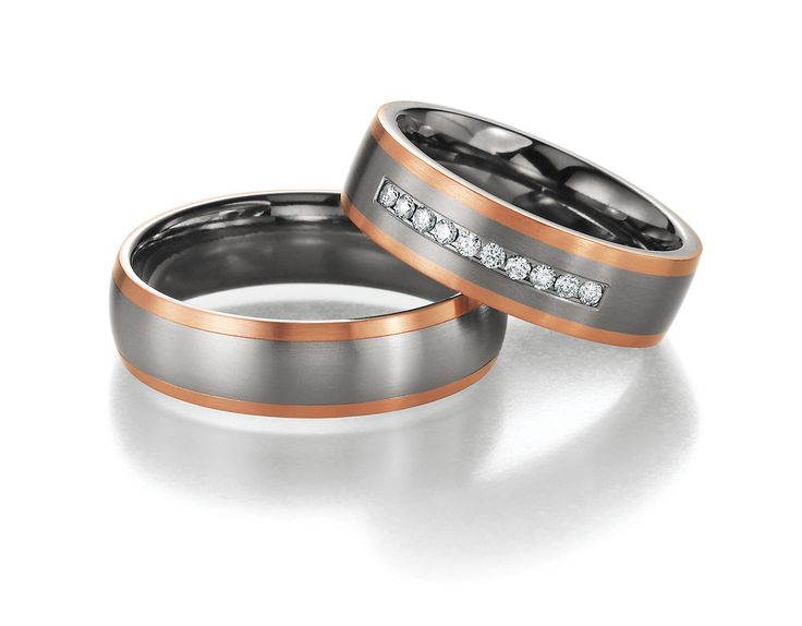 Titanium and Rose Gold Wedding Rings with Diamonds 0.150 ct W/Si