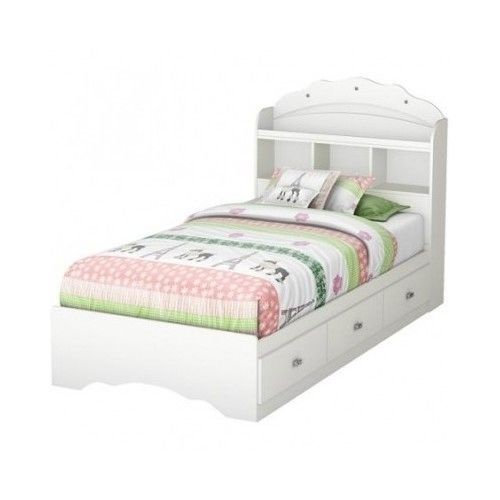 White Bed And Headboard Twin Bookcase Drawers Furniture Storage Bedroom Room  #SouthShore #Transitional