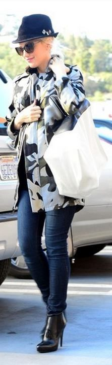 Who made Gwen Stefani's army print coat and black tassle boots that she wore in Studio City?