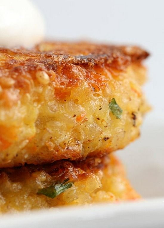 Quinoa Burger ~ Made with quinoa, cottage cheese, cheddar cheese, carrot or zucchini, eggs and scallions.