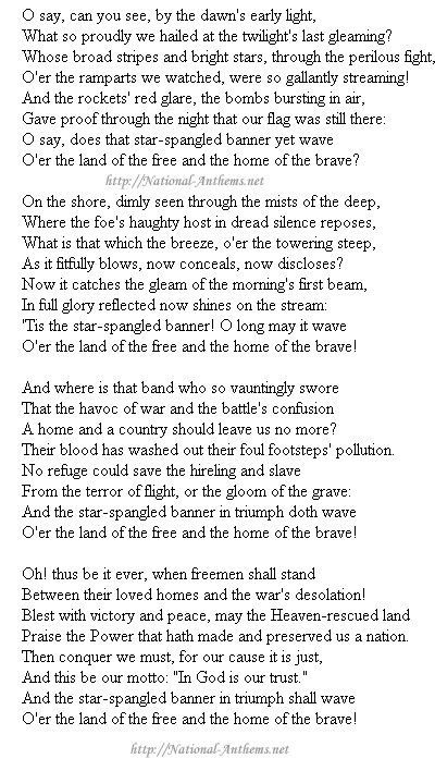 National Anthem of USA.