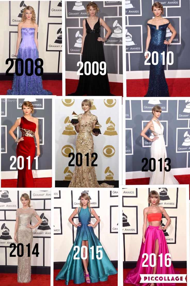@DaLatinaCookie Taylor Swift Grammy's red carpet outfits 2008-2016